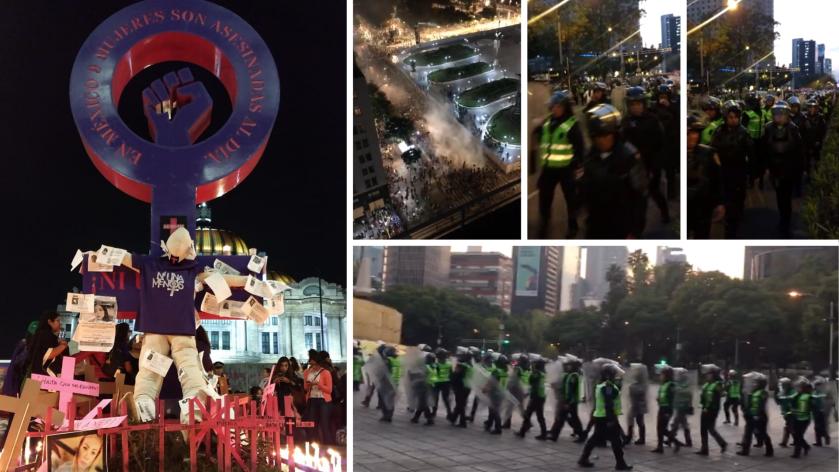 Marcha por el #25N: Uso desmedido de policías y trabajadoras del gobierno de la CDMX