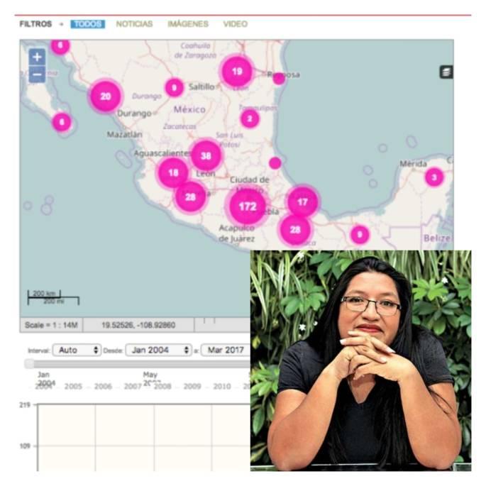 María Salguero mapa de feminicidios en México